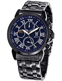 Reloj de Hombre con Pulsera Negra, Esfera Azul con Números Romanos y Display Día-Fecha Día-Noche de Konigswerk AQ202465-1G