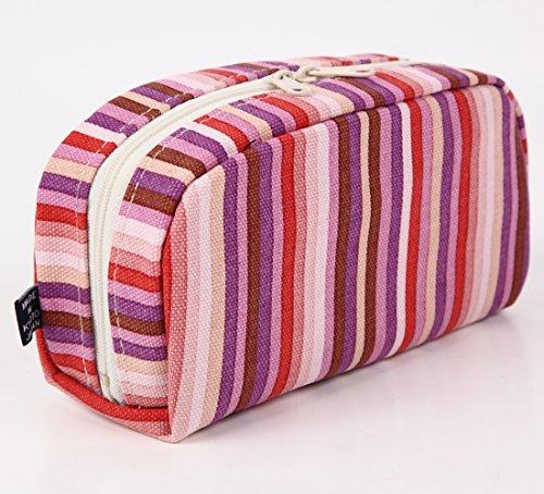 Pochette portatutto giapponese Borsetta Pouch Goshiki Hanpu Do «Kyoto Japan» (pois / ècru) strisce / rosa