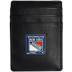 NHL New York Rangers Leather Money Clip/Cardholder Packaged in Gift Box, Black