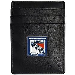 NHL New York Rangers Leather Money Clip/Cardholder Packaged in Gift Box, Black