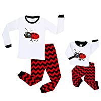 elowel | Pyjamas For Girls And Dolls | Matching Design | 2 Piece (Top And Bottom) | Tight Fitted | 100% Cotton | Design: Ladybug | Size: 8 Years | Multicoloured | Sizes: 2 Years - 10 years