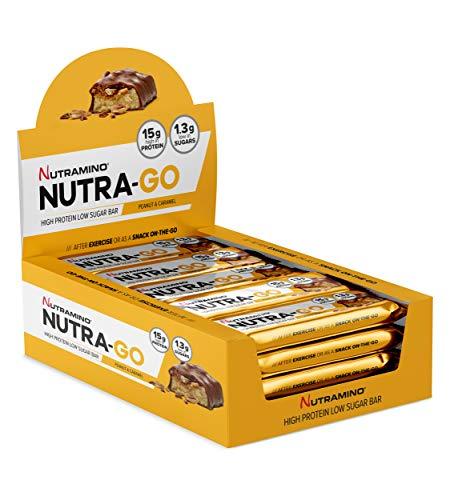 Knusprige 15 Protein (Nutramino Protein bar /Eiweiß Riegel  Peanut & Caramel, 1er Pack (15x45 g))