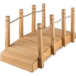 Blumfeldt Rialto • Pont de Jardin • Bois Massif de conifère • Rambarde en Cordage • Traitement Anti-intempéries • Construction Stable • Praticable • Large 50cm • Bois Couleur Rouge