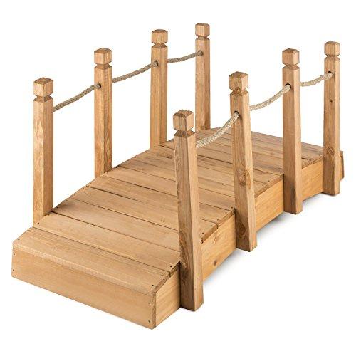 Blumfeldt Rialto • Pont de Jardin • Étang • Bois Massif de conifère • Anti-intempéries • Rambarde intégrée avec Cordage de 1,5cm d´épaisseur • 4 poteaux Bois • 58x58x122 cm