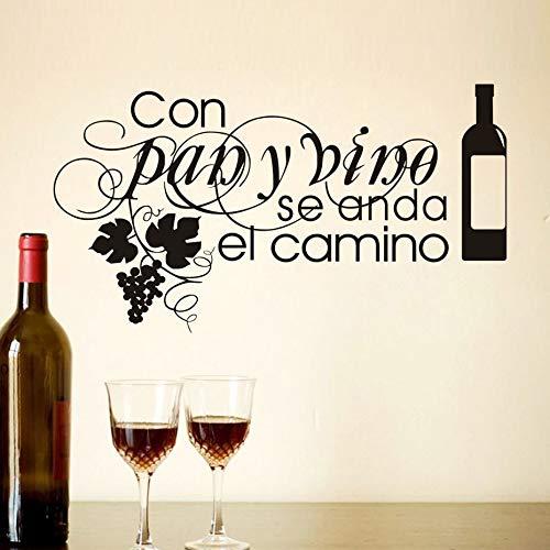 Mit Pan Y Wein Wenn Anda El Camino Wohnzimmer Küche Café Wandaufkleber Steuern Dekor Zitate Wasserdicht Abnehmbare Poster 104 cm X 57 cm -
