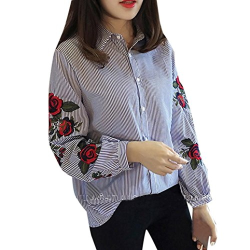 Hemd damen Kolylong® Frauen elegante stieg Stickerei lange Ärmel Hemd Lose gestreifte Bluse Herbst tops T-Shirt (Blau, M) (Mini-gestreifte Shorts)