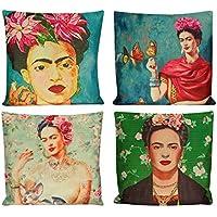 General Funda de cojín, 4 unidades, diseño vintage de Frida Kahlo