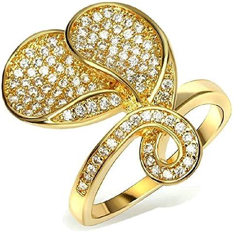 Fedi Nuziali Donna Placcato Oro Zirconia Cubicia Cz Due Labbra Figura Del Fiore Da (14k Diamante Tiffany Anello Setting)