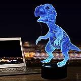 Dinosaurios 3d lámpara luz nocturna óptico Illusions, tiscen 7Cambio de color acrílico Tocar Tabla Lámpara de escritorio para niños Dormitorio Regalos de Navidad, Cumpleaños