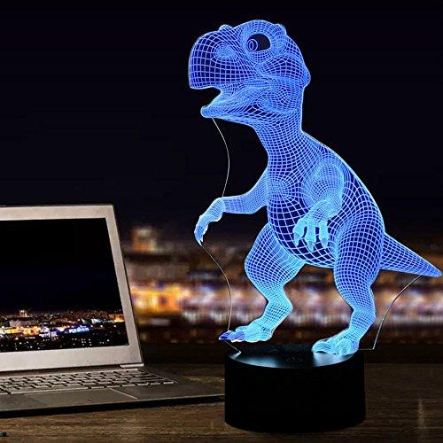 Dinosaurier 3D Lampe Nachtlicht Optische Illusions, Tiscen 7 Farbwechsel Acryl berühren Tabelle Schreibtisch Lampe für Kinder Schlafzimmer Weihnachten Geburtstagsgeschenke (Tabelle Lampe)