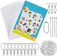 145 Pieces Heat Shrink Plastic Sheet Kit Super Shrink Keyrings, Arts and crafts for Kids