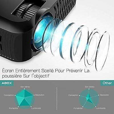 Projecteur ABOX A2 Vidéoprojecteur Portable Full HD 1080p Projecteur Mini 3000 Lumens Rétroprojecteur Home Cinéma Compatible HDMI, USB, Carte SD, VGA, AV, Téléphone Portable, Ordinateur par ABOX