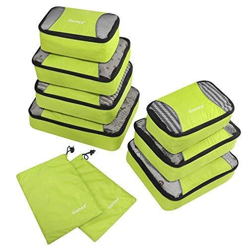 Packing Cubes 9-teilig, 2 zusätzliche Beutel, kleine, mittelgroße, große und 1 größere Kleidertasche, grün