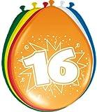 Folat Ballon bunt Luftballons Zahl 16 Geburtstag 8 St. Deko Ballons Party