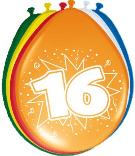 Folat 08216 16. Geburtstag Ballons 30 cm-8 Stück, Mehrfarbig -