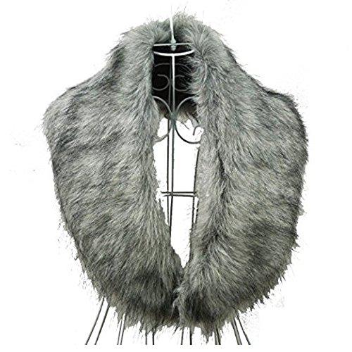Vor Schulterzucken (SwirlColor Fluffy Faux-Pelz Shrug warme Winter-Collar-Verpackungs-Schal-Ansatz-Schal für Frauen - Grau)