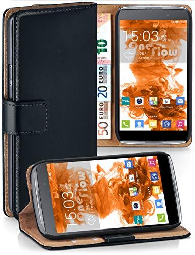 moex® Booklet mit Flip Funktion [360 Grad Voll-Schutz] für Alcatel OneTouch Idol 3 5.5   Geldfach & Kartenfach + Stand-Funktion & Magnet-Verschluss, Schwarz