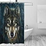 XHWL767 Wolf Print Duschvorhang 3D Bad Badewanne Wasserschutz Animal Print Dekoration 2003