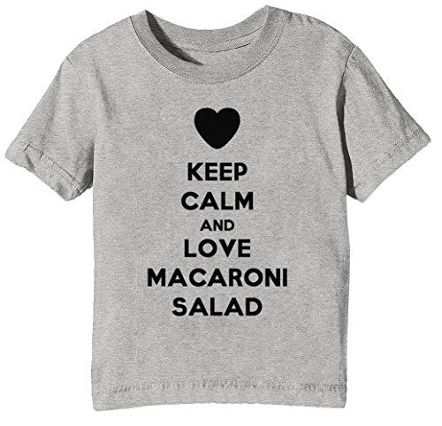 Keep Calm and Love Macaroni Salad Kinder Unisex Jungen Mädchen T-Shirt Rundhals Grau Kurzarm Größe S Kids Boys Girls Grey Small Size S