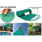 Unique Plastic 50% Sun Shade Sail with Attached Chords (10 ft x 12 ft, Green)
