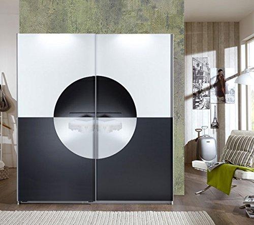 Schwebetürenschrank 299063 Kleiderschrank Round up weiß / anthrazit- Weiß / grauglas 180cm