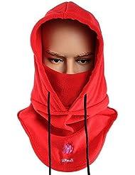Pasamontañas, multiusos, uso térmico, forro polar con capucha, máscara, para actividades de invierno al aire libre, mujer hombre, color rojo, tamaño talla única