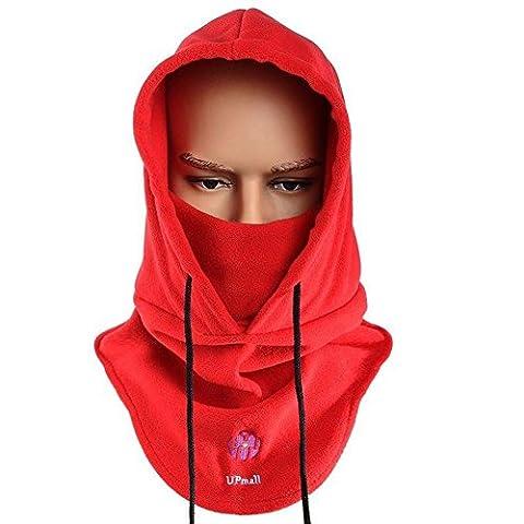 Tactique Masque à masque facial à balaclava Casquette à capuchon résistant au vent (Rouge)