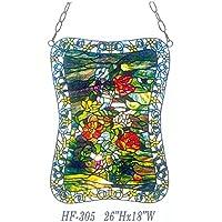 "Gweat HF-305 Tiffany Style vitral Verde Tema Flor Flor Ventana Colgante Panel de Vidrio Sun Catcher, 26"" Hx18 W"