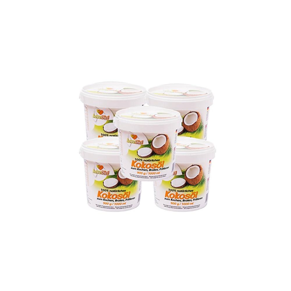 Lovediet Coconut Oil Kokosfett Kokosl 5erpack5x1000ml Neutraler Geruch Und Geschmackgratis Carob Pulver 250g