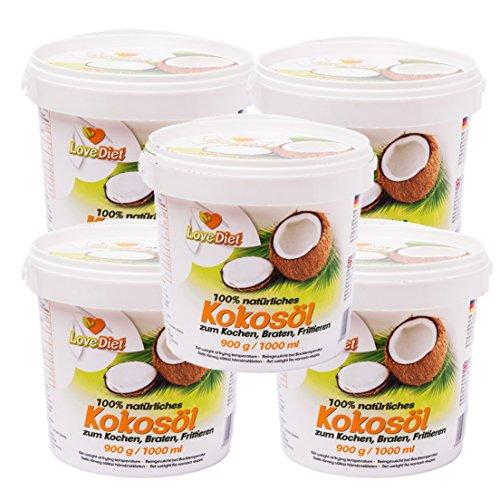 LoveDiet Coconut Oil, Kokosfett, Kokosöl 5erPack(5x1000ml)-neutraler Geruch und Geschmack+Gratis Carob Pulver 250g -