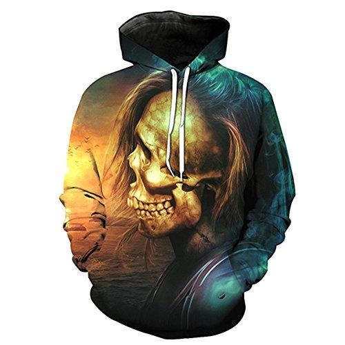 Schädel Hoodie Unisex: glücklich, 3D Print Skelett, Schädel, Horror, Tattoo  Design