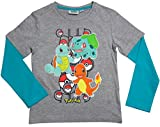 Pokemon Langarmshirt Kollektion 2017 Shirt 104 110 116 122 128 134 140 146 152 Jungen Glumanda Schiggy Bisasam Grau-Blau (Grau-Blau, 104/110)