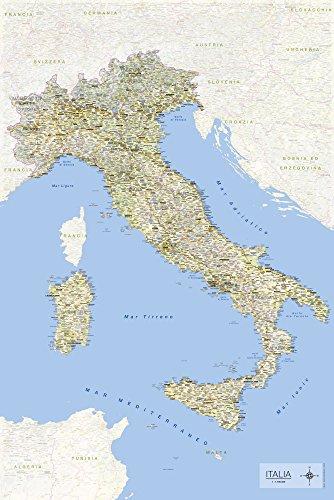 Carta Geografica italiana in formato Maxi 61 X 91,5 cm con nomi di comuni e e informazioni in lingua italiana