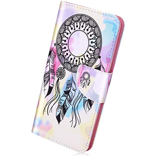 Herbests Kompatibel mit Huawei Honor 8C,Leder Tasche Flip Handyhülle Wallet Leder Klapphülle Brieftasche mit Kartenfach Handy Schutzhülle Book Case Lederhülle,Traumfänger Feder