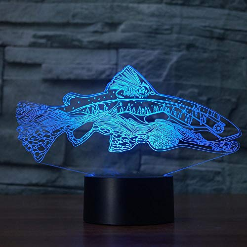 WangZJ Led Nachtlicht / 3d Visuelle Illusion Lampe / 7 Farbwechsel Nachtlichter/wohnkultur Geschenke/Weihnachtsdekor /Angeln