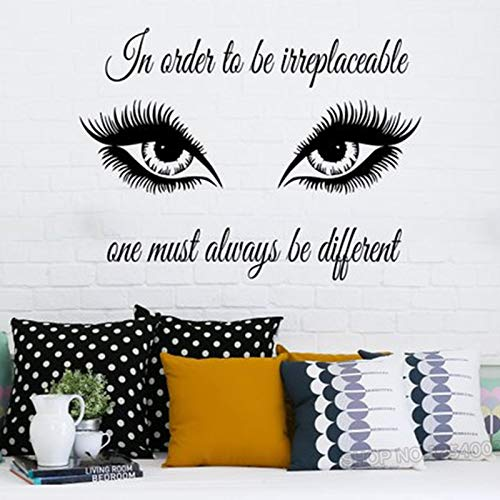 Kunst Zitat Auge Wandaufkleber Wimpern Make-Up Mädchen Kosmetik Vinyl Aufkleber Schönheitssalon Wohnkultur Abnehmbare Shop 57 * 76 cm