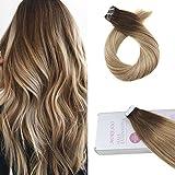 Moresoo Tape In Echthaar Extensions 18zoll Glatt Haarverlängerung Multi Colour Ombre Braun #3 Zu Hellbraun #8 With Blond #22 Remy Echthaar 20Pcs 50Gramm