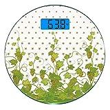 Digitale Präzisionswaage für das Körpergewicht Runde Trauben Ultra dünne ausgeglichenes Glas-Badezimmerwaage-genaue Gewichts-Maße,Blumen-Block Sherry Leaf Province Garden Retro- erneuernde geschmackvo