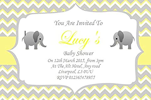 20 Personalised Baby Shower Invitations / Invites With Envelopes unisex lemon and grey