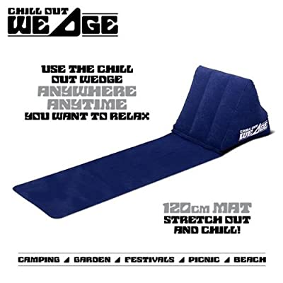 CKB LTD® The Chill Out Portable Travel Inflatable Lounger with Wedge Shape Back Cushion Outdoor - Perfect for Reading in the Garden Camping and Festivals by CKB Ltd