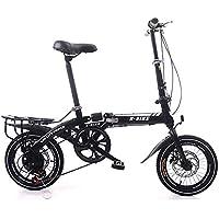 LETFF Bicicleta Plegable para Adultos, Bicicleta de cercanías para Hombres y Mujeres de 16 Pulgadas