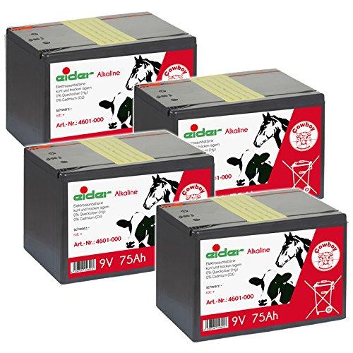 Eider Sparpack: 4X 9V Batterien Alkaline 75 AH - für 9 Volt Weidezaungeräte - als Sparpack kaufen und Sparen