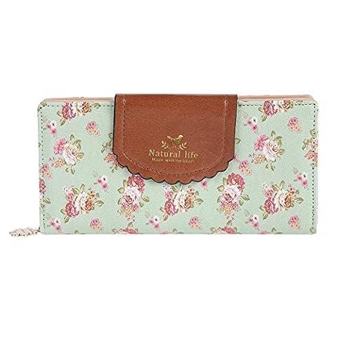 Kleine Blume Geldbörse Elegant Damen IHRKleid® Leder Geldbeutel Süß Portemonnaie (Grün)
