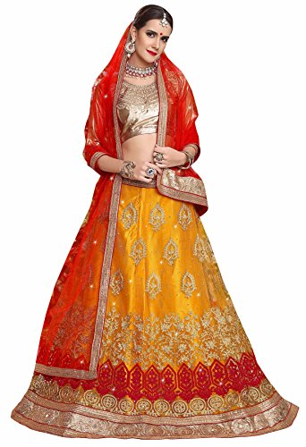 Manvaa YELLOW Color NETT Embroidery Designer Lehenga