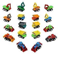 TONZE Coches de Juguetes Camion Vehículos de Construcción Mini Micromachines Miniaturas Coches Gruas Pull Back Pala Excavadora Dumper Bulldozer Juguetes para Niños Niñas 3 4 5 Años (18 Pedazos)