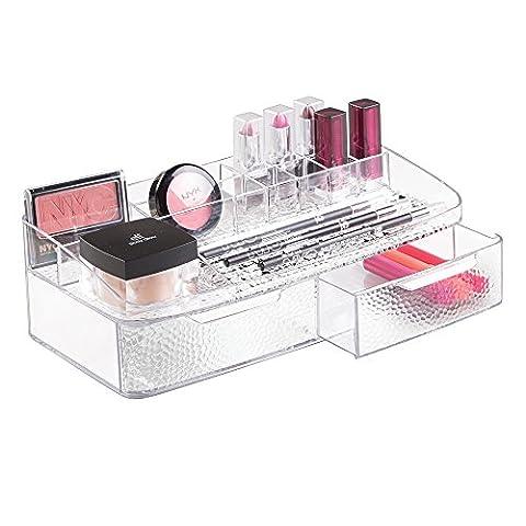 Rangement de cosmétiques à 2 tiroirs, mDesign, pour meuble de salle de bain, maquillage, produits de beauté - Transparent