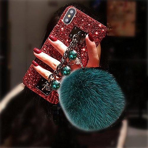 Bling Glitter Luxus Edelstein Armband Shinny Diamant Kette Halter mit Kaninchen Fell Pom Plüsch Ball für Mädchen Hard Shell Case für Apple iPhone 6/6S, Red Shell-Green