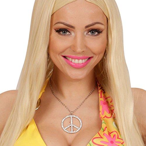 kette mit Strass Peace Kette Flower Power Medaillon Hippiekette Amulett ()