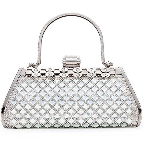 LONGBLE Silber Abendtasche,Damen Party Tasche aus glitzer Kristall Perlen geschmückt mit Schulterketten Geschenk für Freundin Mama Mutter Handtasche Hochzeit -