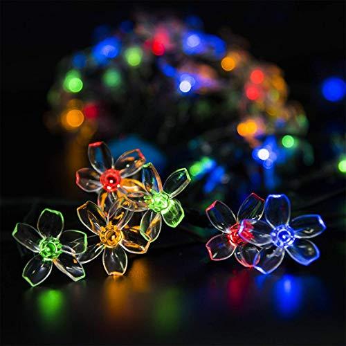GIGALUMI - Confezione da 2 stringhe di luci solari a forma di fiore, per esterni, casa, prato, matrimonio, patio, feste e decorazioni per le vacanze